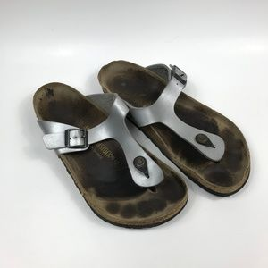 L10 M8 Birkenstocks 41 265 Brown Silver Slides